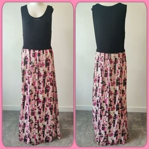 Calvin Klein maxi sleeveless pink & black dress